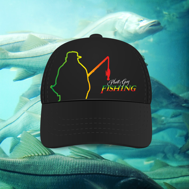 Black trucker comfort fit ball cap phatt guy fishing for Fat guy fishing