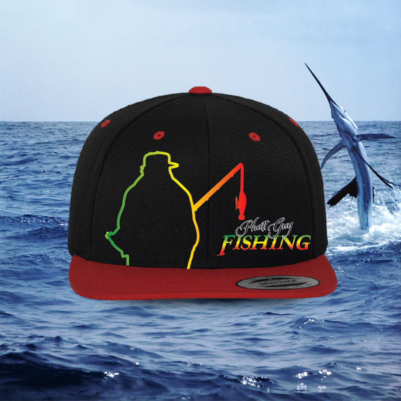 Black and red trucker comfort fit ball cap phatt guy fishing for Fat guy fishing